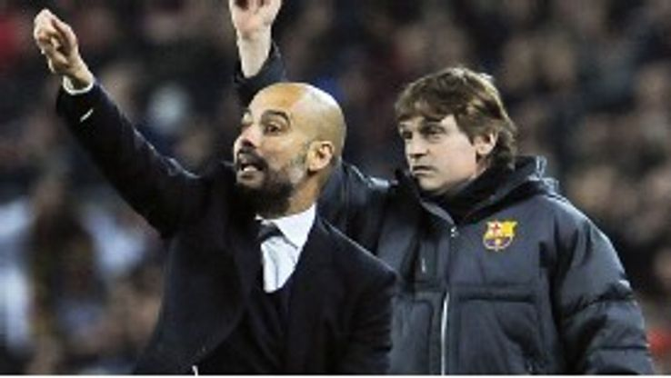 Pep Guardiola with his successor, Tito Vilanova