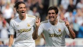 Danny Graham celebrates scoring Swansea's third