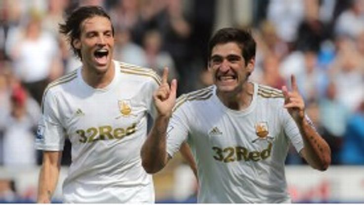 Danny Graham celebrates scoring Swansea's third