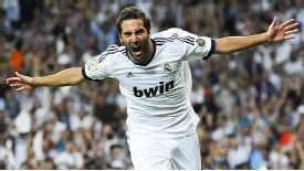 Gonzalo Higuain celebrates after giving Real the lead