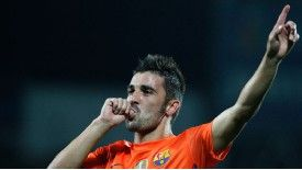 David Villa celebrates his goal against Getafe