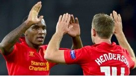 Andre Wisdom celebrates his headed goal for Liverpool