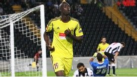 Anzhi's Lacina Traore celebrates against Udinese
