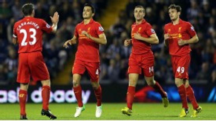 Liverpool's Nuri Sahin celebrates scoring his sides opening goal