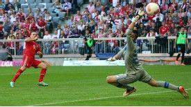 Franck Ribery scores Bayern Munich's second goal past Hoffenheim goalkeeper Koen Casteels