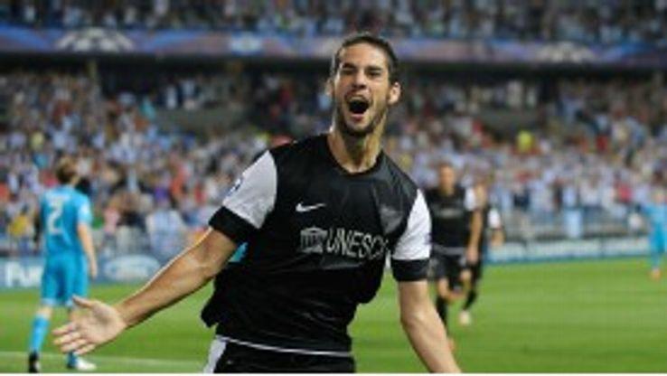 Malaga starlet Isco celebrates