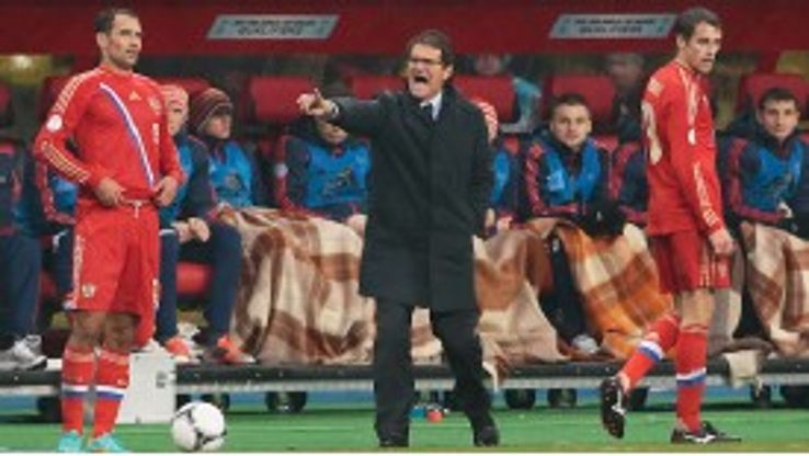 Fabio Capello yells instructions during Russia's 1-0 win over Portugal in October