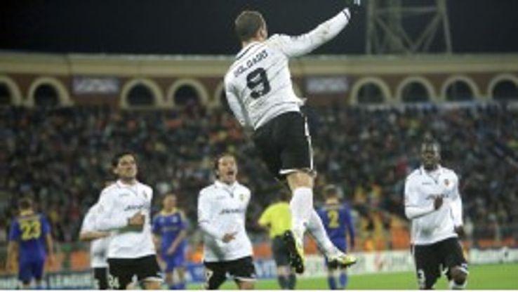 Roberto Soldado fired in a hat-trick for Valencia