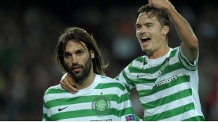 Samaras' deflected header handed Celtic a shock lead at Barcelona