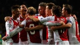Ajax celebrates after establishing a 3-1 lead through Christian Eriksen's deflected strike