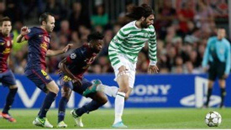 Georgios Samaras was influential in Celtic's 2-1 defeat at Barcelona