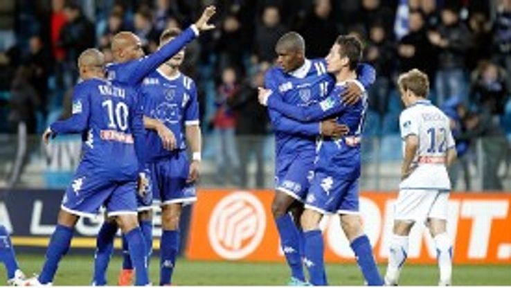 Bastia celebrate Anthony Modeste's winner against Auxerre