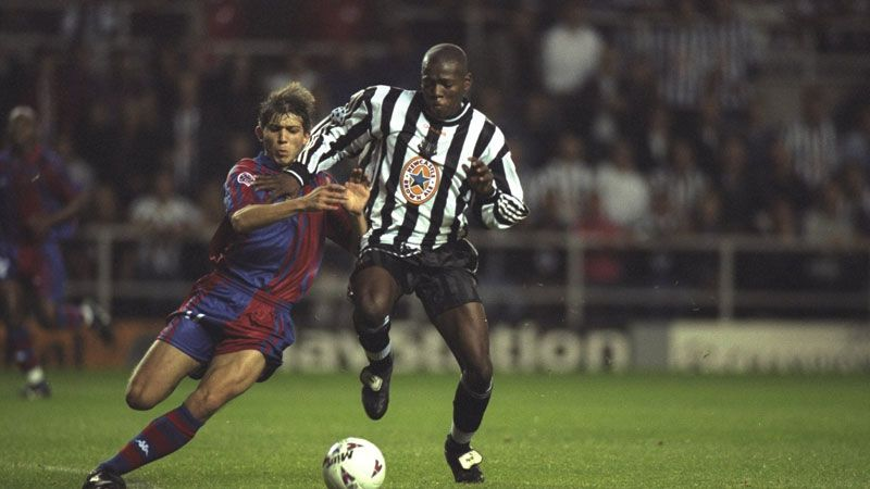 Faustino Asprilla in action for Newcastle against Barcelona