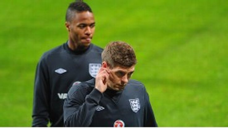 Steven Gerrard will win his 100th England cap while Liverpool team-mate Raheem Sterling makes his bow