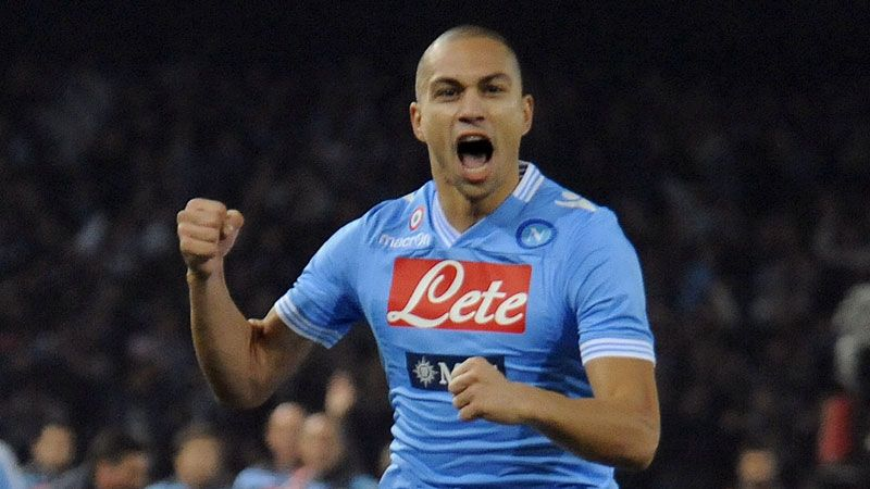 Gokhan Inler celebrates after opening the scoring for Napoli against AC Milan