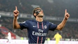 Nene celebrates after equalising against Stade Rennes