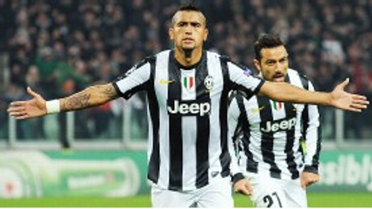 Arturo Vidal celebrates after scoring Juventus' second goal against Chelsea