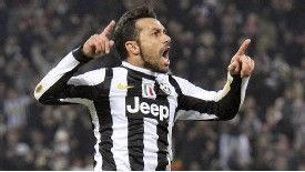 Fabio Quagliarella celebrates after giving Juventus the lead against Chelsea