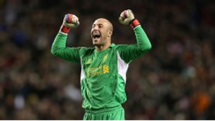 Pepe Reina expresses his delight after Shelvey's opening goal