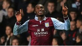 Christian Benteke celebrates his goal for Aston Villa against Reading