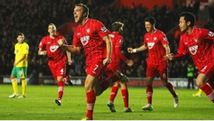 Rickie Lambert celebrates after scoring one of his 13 Premier League goals this season