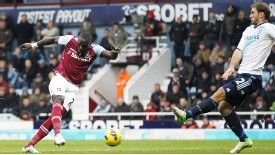 Mohamed Diame puts West Ham into the lead against Chelsea