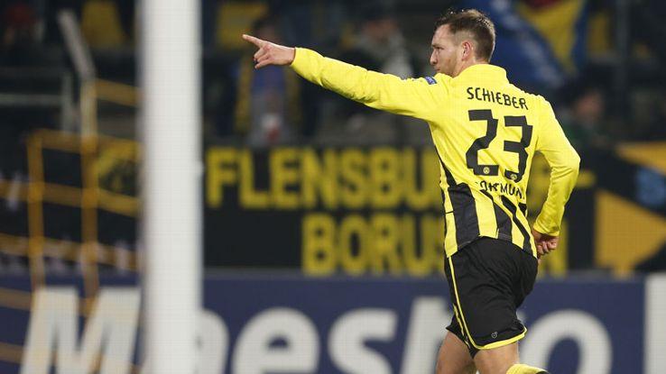 Julian Schieber celebrates netting against Manchester City