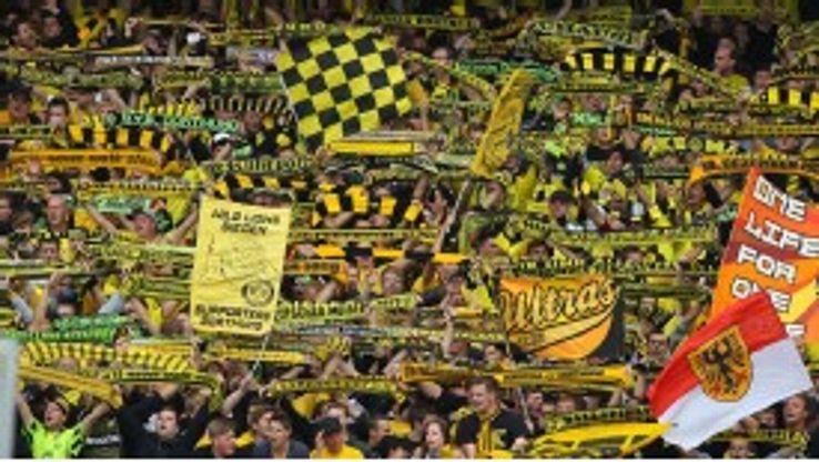 Fans on the terraces at Dortmund's Westfalenstadion