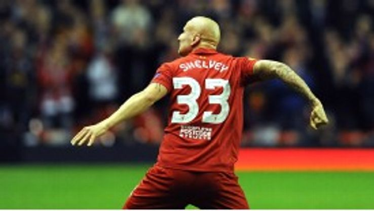 Jonjo Shelvey celebrates a goal for Liverpool