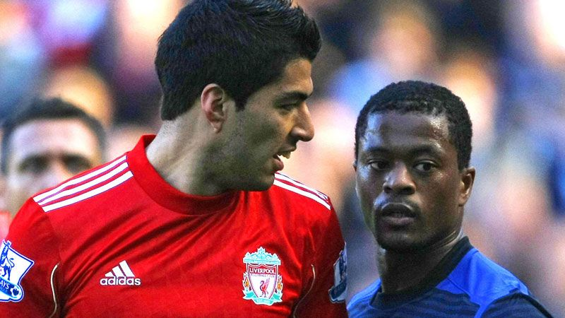 Luis Suarez was banned for eight matches in the Patrice Evra incident.