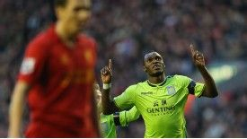 Christian Benteke helped himself to a brace against Liverpool