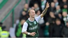 Leigh Griffiths celebrates after putting Hibs into the lead against Celtic last month