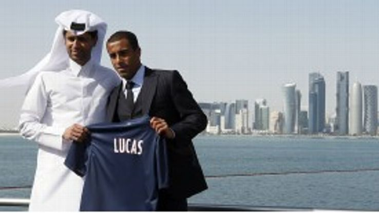 Nasser Al Khelaifi presents new signing Lucas Moura in Doha
