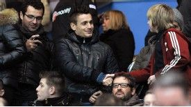 Mathieu Debuchy greets Newcastle fans during the team's 2-1 defeat at home to Everton