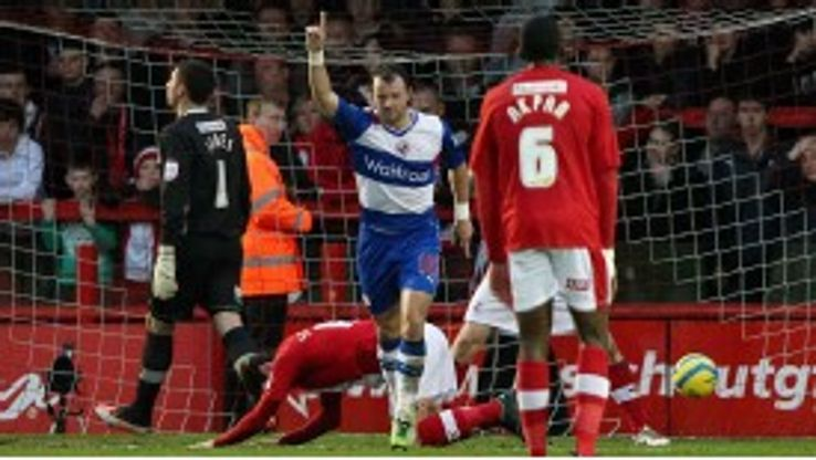 Noel Hunt celebrates after putting Reading 2-1 up against Crawley
