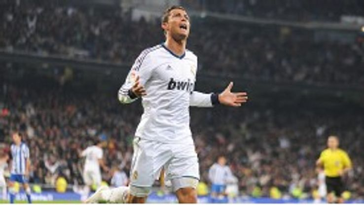 Cristiano Ronaldo celebrates after scoring Real's third goal against Sociedad