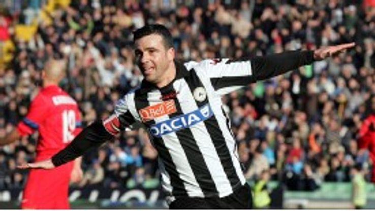Di Natale celebrates after scoring against Inter Milan