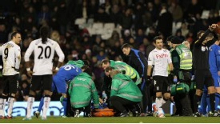Ivan Ramis suffered what appeared to be a serious knee injury at Craven Cottage