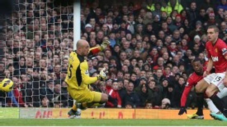 Evra's header bounces past a hapless Reina