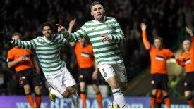 Norwich target Gary Hooper was on target for Celtic against Dundee United
