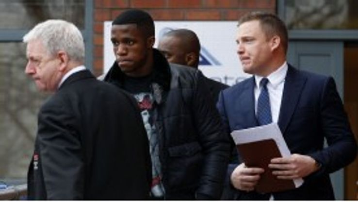 Wilfried Zaha leaves Bridgewater Hospital in Manchester following his medical