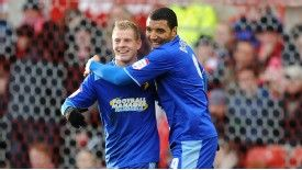 Matej Vydra (L) celebrates with Troy Deeney after the duo combined to put Watford 2-0 up