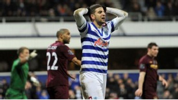 QPR's Adel Taarabt shows his frustration during the visit of Manchester City