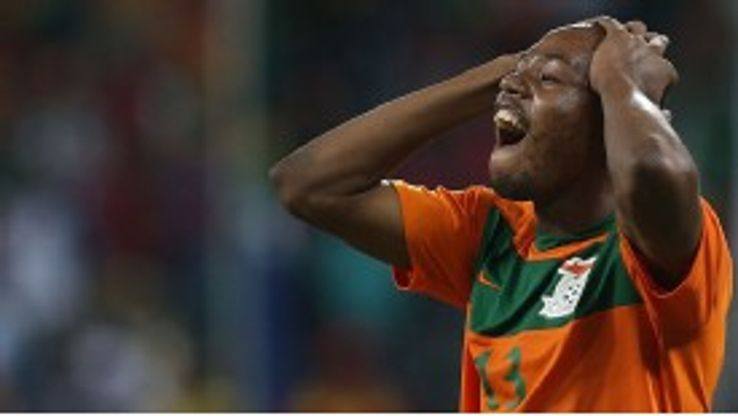Stoppila Sunzu shows his frustration as a chance goes begging for Zambia