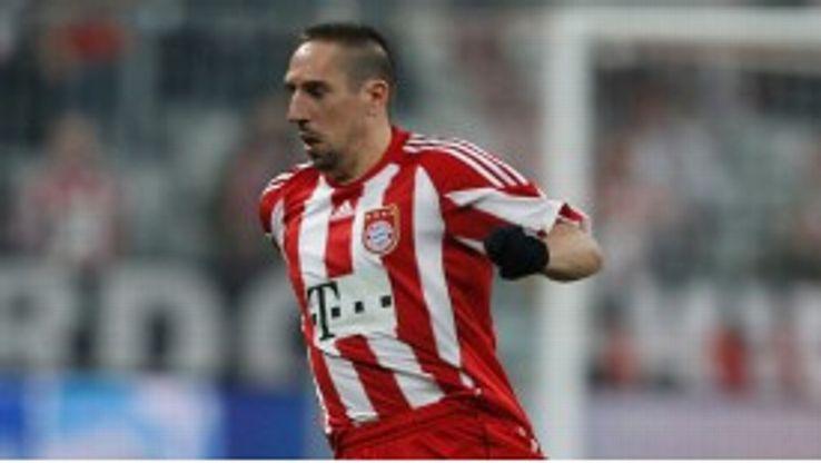 Bayern's Frank Ribery was left reeling by team-mate Bastian Schweinsteiger.