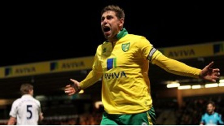 Grant Holt celebrates after Norwich take the lead against Tottenham