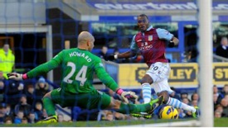 Christian Benteke was in imperious form at Goodison