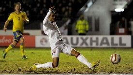 Tom Ince scores his side's first goal of the game