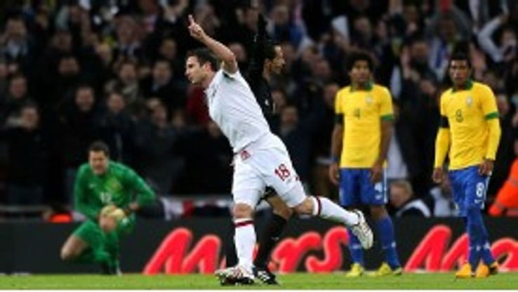 Frank Lampard celebrates after scoring what proved to be the winning goal for England
