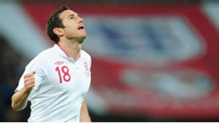 Frank Lampard celebrates restoring England's lead